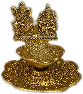 Aditri Creation Lakshmi Ganesh Hand Pooja Puja Diya Oil lamp in Metal Antique Gold Plated Indian Traditional Pooja Items A...