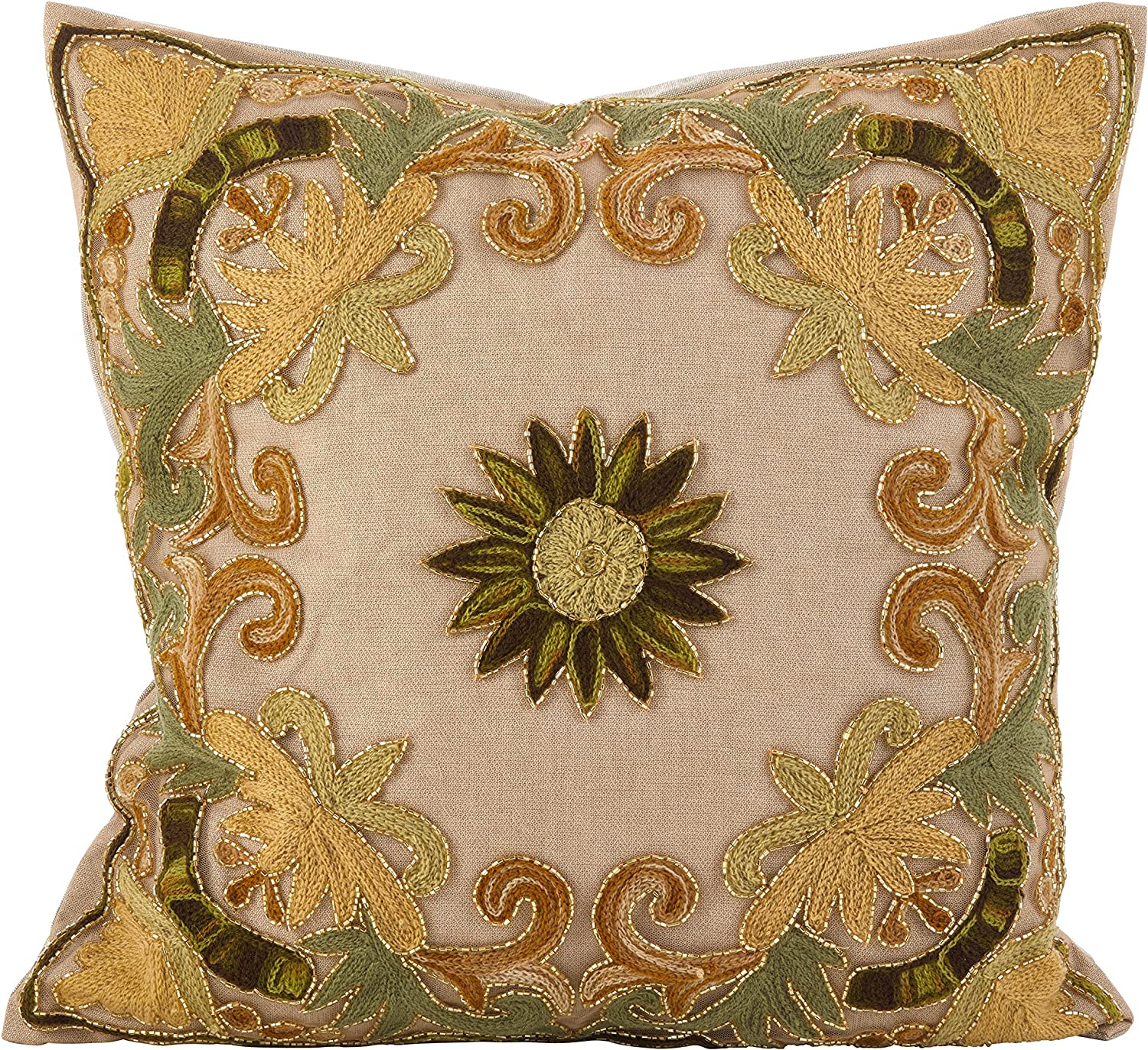 List price Max 41% OFF SARO LIFESTYLE Embroidered Floral Design Poly Cotton Fill Beaded