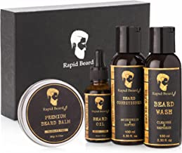 Beard Grooming kit for Men Care - Unscented Beard Oil, Beard Shampoo Wash, Beard Conditioner Softener, Beard Balm Leave in Wax Butter - Styling Shaping & Growth Mustache - Stocking Stuffers Gift Set