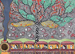 Villagers Travelling On The Train Enjoying a Beautiful View - Madhubani Painting on Hand Made Paper