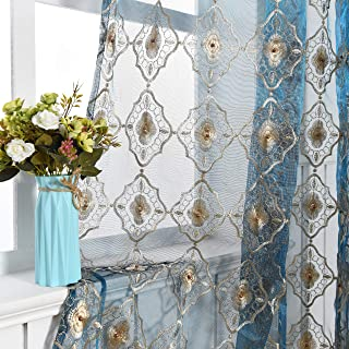 Aside Bside Vintage Sheer Curtain Embroidered Beaded Lace Voile Draperies Rod Pocket Panel for Living Room Bedroom Dining Room(1 Panel, Blue Bottom with Light Brown Embroidered, W 50 x L 95 inch)