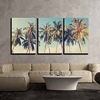 wall26 - 3 Piece Canvas Wall Art - Vintage Tropical Palm Trees on a Beach - Modern Home Decor Stretched and Framed Ready to Hang - 24
