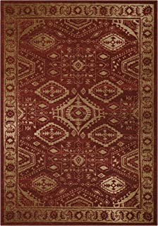 Maples Rugs Area Rug - Georgina 5 x 7 Large Area Rugs [Made in USA] for Living Room, Bedroom, and Dining Room, Red/Gold
