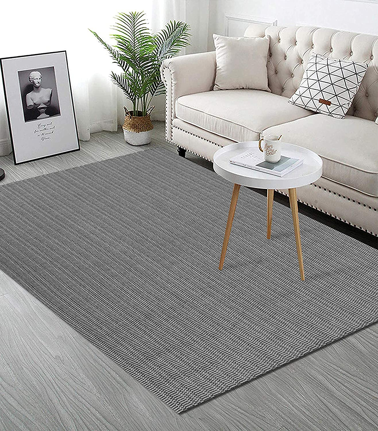 Upgraded Boho Area Rug 3'x5', Black and Grey Carpet, 100% Woven Cotton Washable Grey Outdoor Rug for Home Decor, Tassel Rug for Kitchen/Living Room/Bedroom