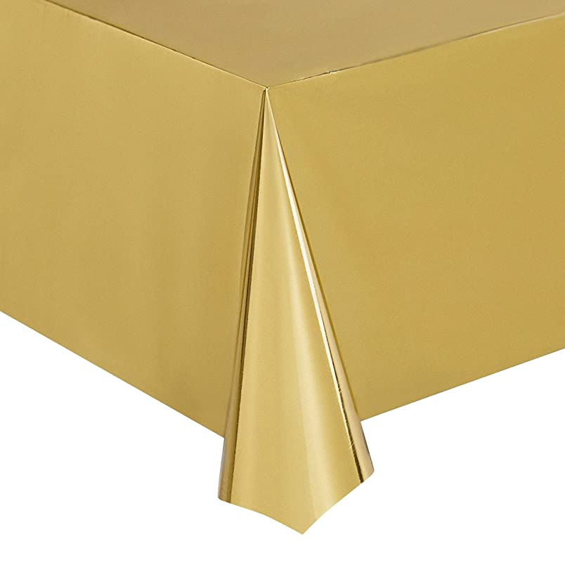 Juvale Gold Foil Tablecloth - 6-Pack 54 x 108 Inch Shiny Plastic Tablecloth, Fits up to 8-Foot Long Tables, Gold Themed Party Supplies, 4.5 x 9 Feet jb640673995