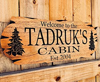 Personalized Cabin Sign Outdoor Wood Sign Welcome Sign Rustic Decor Custom Wood Sign