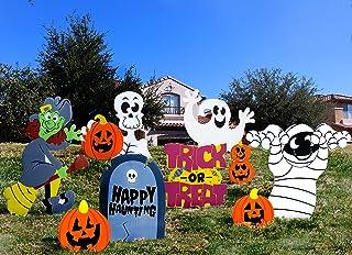 JOYIN Friendly Halloween Corrugate Yard Stake Signs (9 Pieces) for Halloween Outdoor/Indoor Decorations, Lawn Yard Decorat...