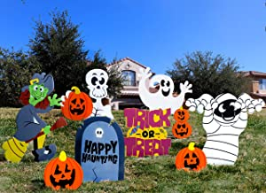 JOYIN Friendly Halloween Corrugate Yard Stake Signs (9 Pieces) for Halloween Outdoor/Indoor Decorations, Lawn Yard Decorations, Trick or Treating, Halloween Prop
