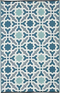 Fab Habitat Seville Indoor/Outdoor Recycled Plastic Rug, Multicolor Blue, (5' x 8')