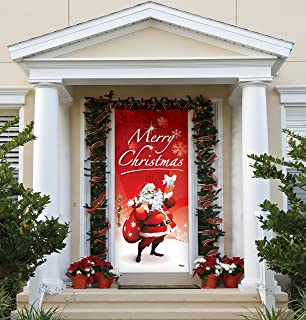 Victory Corps Outdoor Christmas Holiday Front Door Banner Cover Mural Décoration - Christmas Front Door Banner Decor - Santa's Merry Christmas