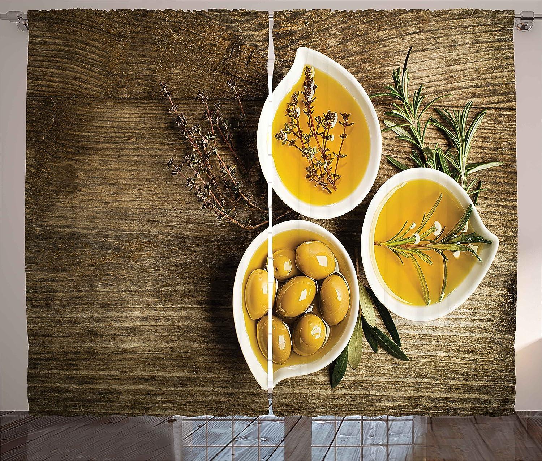 Ambesonne Vintage Curtains Olive Max 87% OFF Oil Herb Fresh Bowls Little Elegant in