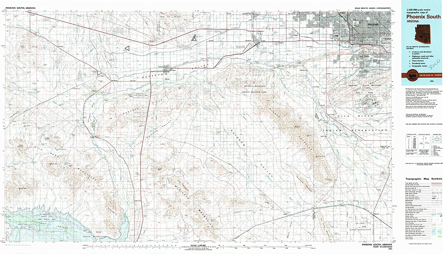 Phoenix South AZ topo map, 1 100000 Scale, 30 X 60 Minute, Historical, 1981, Updated 1981, 24.1 x 44 in