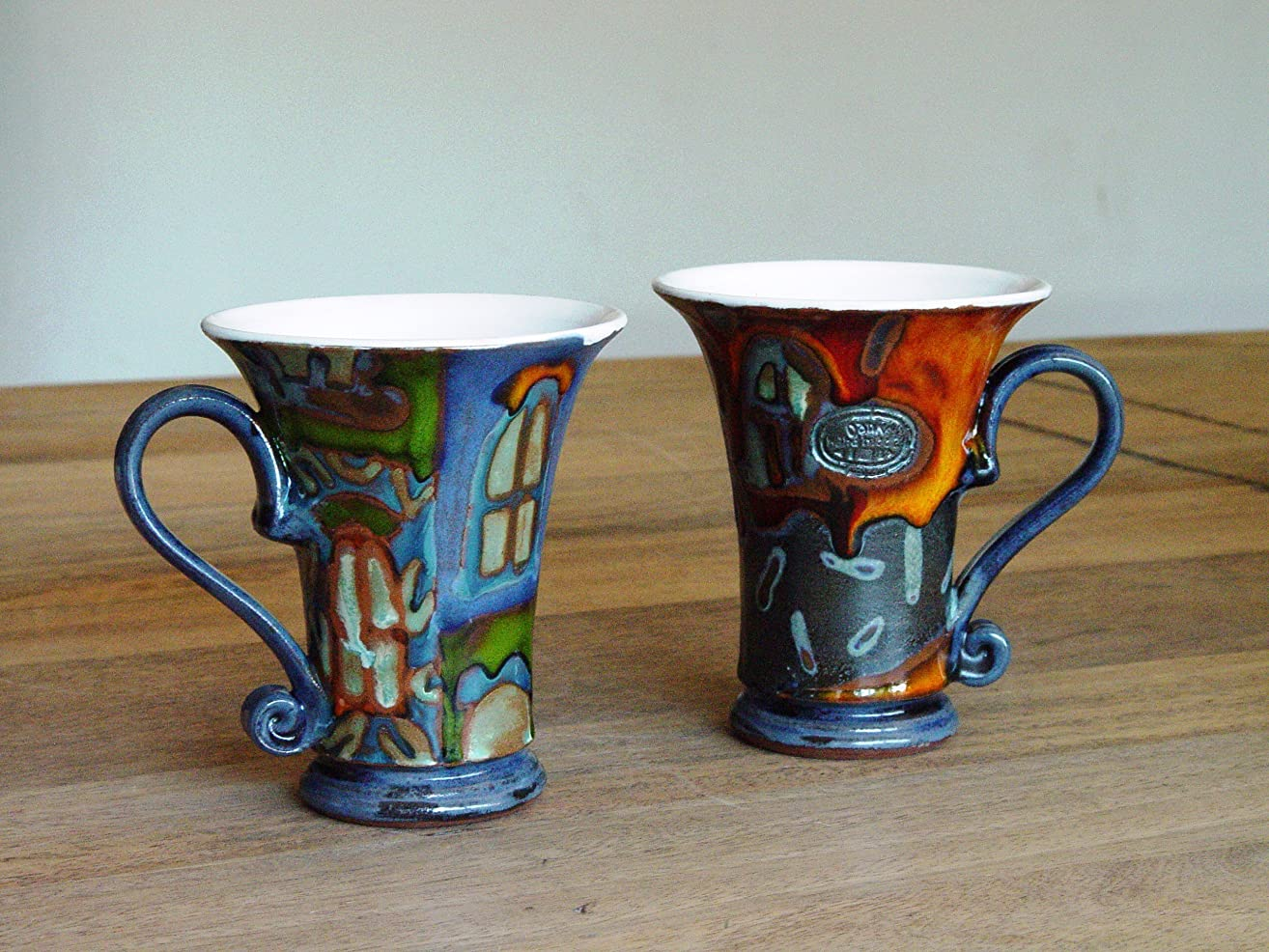 Set of Two Coffee Mugs, Colorful Ceramic Mugs with Unique Hand Painted Decoration, Danko Pottery