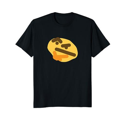 fe3e8e9c9f2ba4 Amazon.com  Thonk Meme Thinking Emoji T-Shirt  Clothing