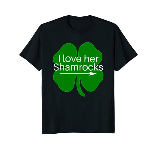 2f8e86bc Image Unavailable. Image not available for. Color: Funny Couples I Love Her  Shamrocks Shirt St. Paddy's Day Tee