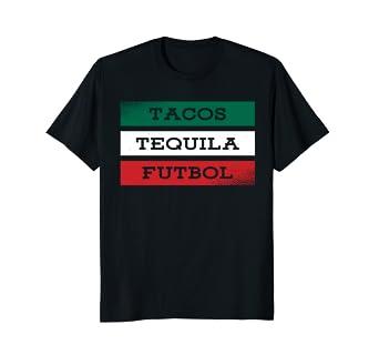 Mexico Tacos Tequila Futbol Flag T-Shirt