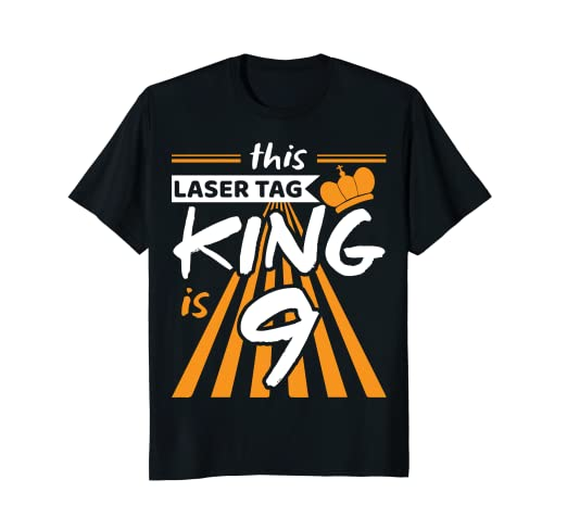 d1dfdcefdf5b Amazon.com: 9 Year Old Laser Tag King Birthday Party T-shirt: Clothing