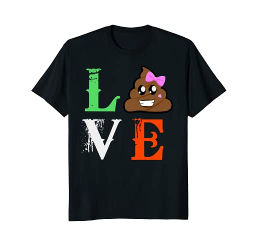 Amazoncom St Patricks Day Girls Emoji Shirt Love Poo Gift Idea