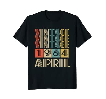 f54b609bc Image Unavailable. Image not available for. Color: Retro Vintage 1964 born  in April Tshirt ...