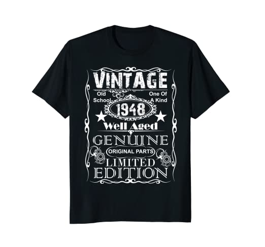 e97d2cf112c0 Image Unavailable. Image not available for. Color  70th Birthday Gift T-Shirt  Vintage 1948 Year ...
