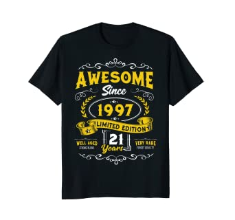 21st Birthday Gift T Shirt Awesome Since 1997 Vintage Design