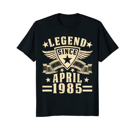 eed2cfee8 Image Unavailable. Image not available for. Color  Legend Since April 1985 T -shirt 33rd Birthday Gifts