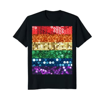 2e579ccb8dd73 Image Unavailable. Image not available for. Color: rainbow sequin print  lgbt gay pride flag tshirt ...