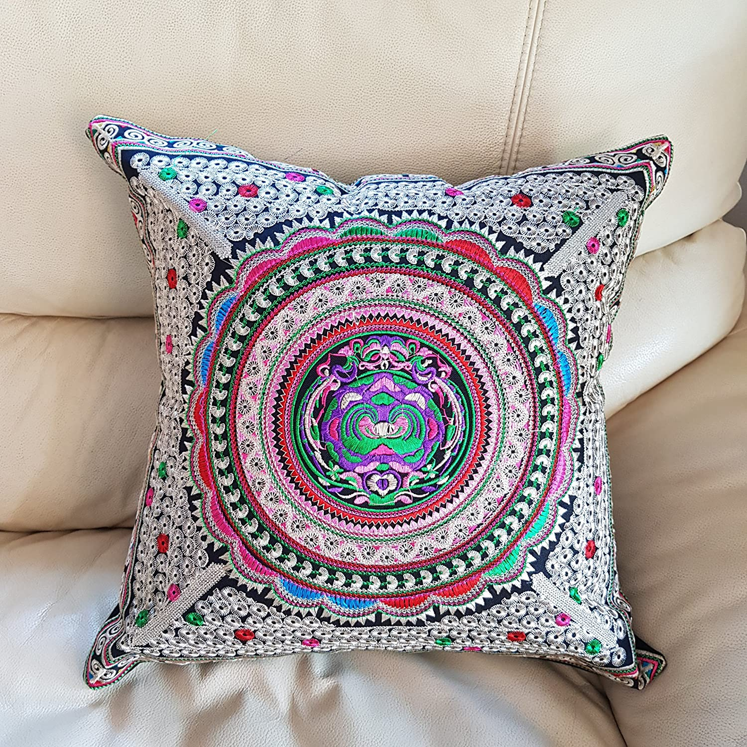 DOWDEGDEE Pillow Cases Decorative Pillow Cover Hmong Emproider Handmade Cotton Cushion case Silver Pink Flora 16 x 16 inches