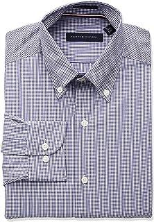 19f417bdf Tommy Hilfiger Men's Dress Shirts Non Iron Regular Fit Check Buttondown  Collar