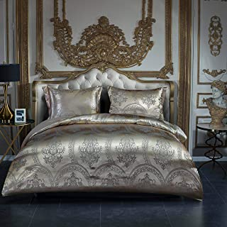 OSVINO Satin Duvet Cover Set Luxury 3 Pieces Jacquard Soft Silky Bedding Down Cover Pillowcases Set with Zipper Closure, G...