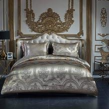 طقم أغطية وسائد سرير من OSVINO الفاخرة 3 قطع جاكار ناعم حريري من الساتان مع سحاب إغلاق، ذهبي، الملكة