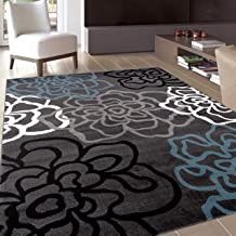 Contemporary Modern Floral Flowers Gray Area Rug 5' 3