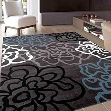 Contemporary Modern Floral Flowers Gray Area Rug 5' 3  X 7' 3