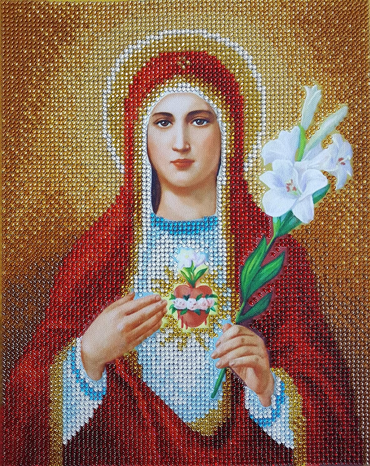 Immaculate Heart of Mary Bead Embroidery kit Religion Catholic Icon DIY Needlepoint Tapestry Kits Beaded Cross Stitch Virgin Mary Our Lady