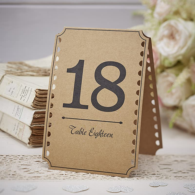 Ginger Ray Vintage Affair Kraft Wedding Party Table Numbers 13 24 Brown