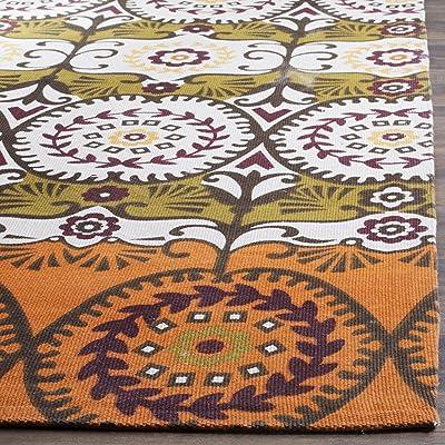 Tapis rectangulaire d'intérieur fantaisiste noué à la main, collection Cedar Brook, CDR127, en orange / rouge, 122 X 183 cm pour le salon, la chambre ou tout autre espace intérieur par SAFAVIEH.