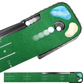 Champkey PUTTECH PRO Golf Putting Mat – Adjustable Hole & Automatic Ball Return..