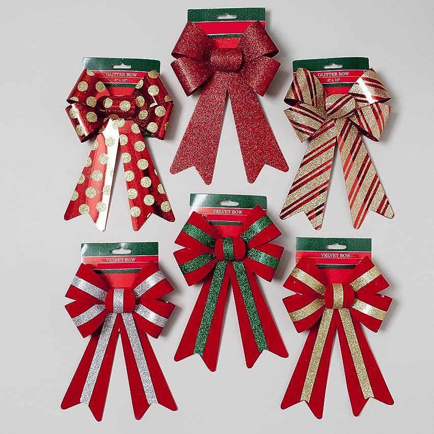 6 Red Velvet and Glitter Christmas Bows 6