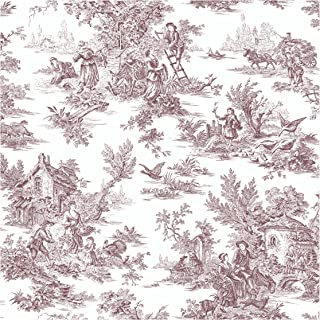 York Wallcoverings Ashford Toiles Champagne Toile Prepasted Removable Wallpaper, White/Black