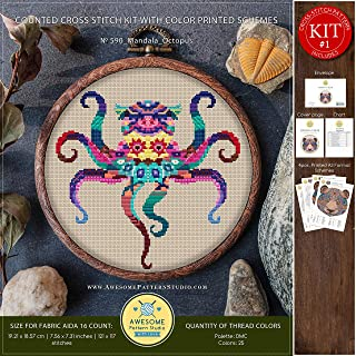 Mandala Octopus #K590 Cross Stitch Kit | Funny Animals Cross Stitch Kits | Cross Stitch World | Needlepoint Kits | Stitch Design | Cross Designs