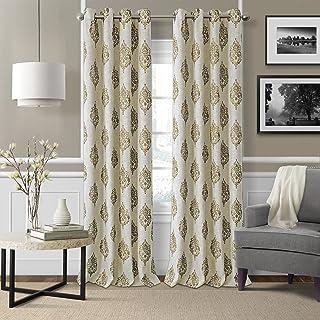 "Elrene Home Fashions Navara Medallion Room Darkening Window Curtain Panel, 52"" x 84"" (1, Natural"