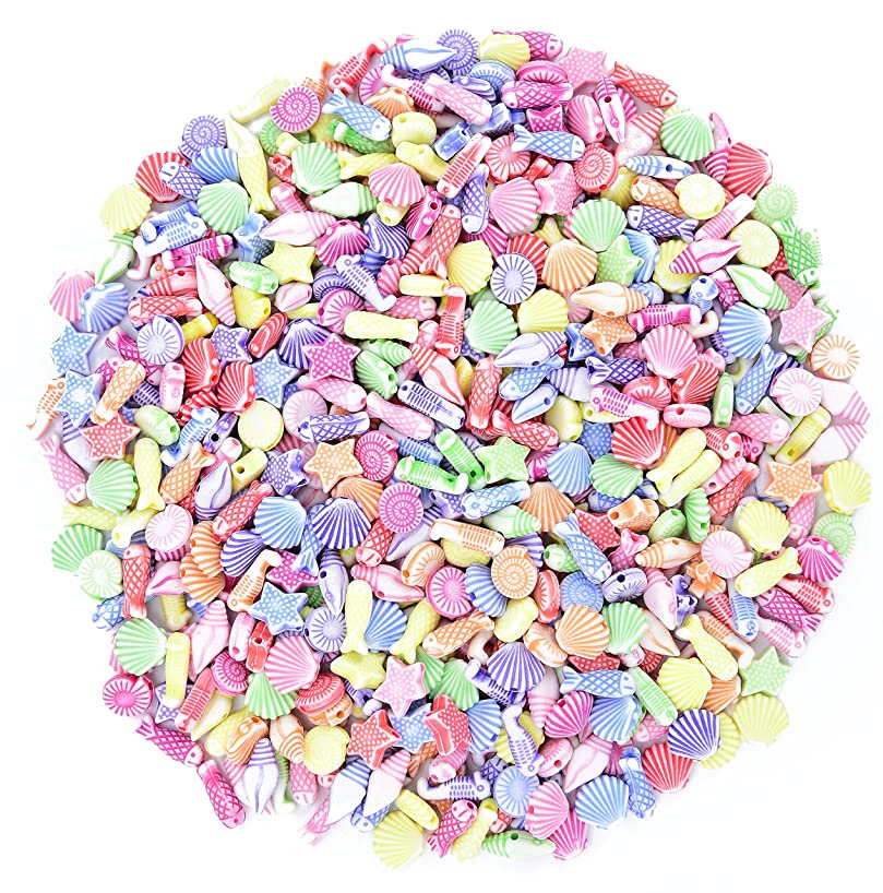 Ancefine Assorted Arcylic Sea Shell Fish Beads for Jewelry Making,8~12 mm,500 Pieces