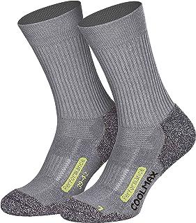 Coolmax - 2 pares de calcetines largos para senderismo, exteriores, color negro, antracita, azul marino, talla 35-38 39-42 43-46 47-50 gris 39-42