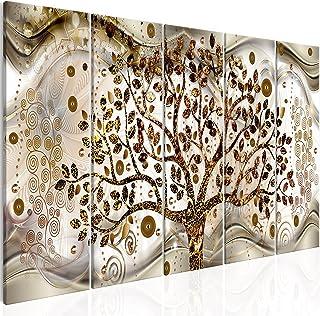 murando Quadro Albero della vita Klimt 225x90 cm 5 pezzi Stampa su tela in TNT XXL Immagini moderni Murale Fotografia Graf...