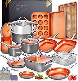 Home Hero Copper Pots and Pans Set -23pc Copper Cookware Set Copper Pan Set Ceramic Cookware Set Ceramic Pots and Pans Set...