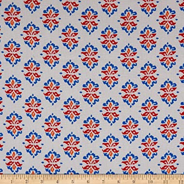 Fabric Merchants Splendid Apparel Rayon Crinkle Stamp Floral Ivory/Red Fabric, Multi
