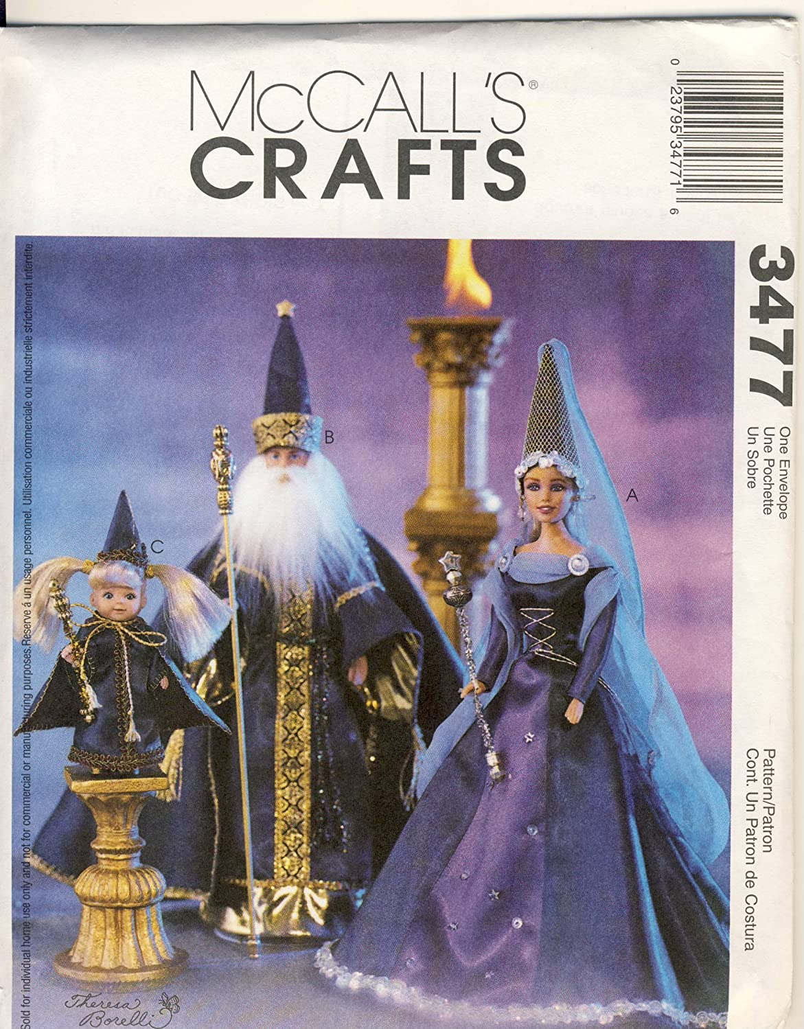 McCalls Crafts Sewing Pattern 3477 - Use to Make - Fashion Doll Clothes - Wizards