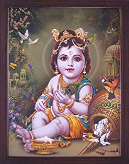 Handicraft Store Lord Child Bal Krishna Eating Butter and Enjoying with Peacock and Parrots, Elegant Posture with Frame, M...