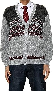 Louie James Diamond Argyle Classic Style Mens Cardigan Gentlemen Vintage Pattern Button Up