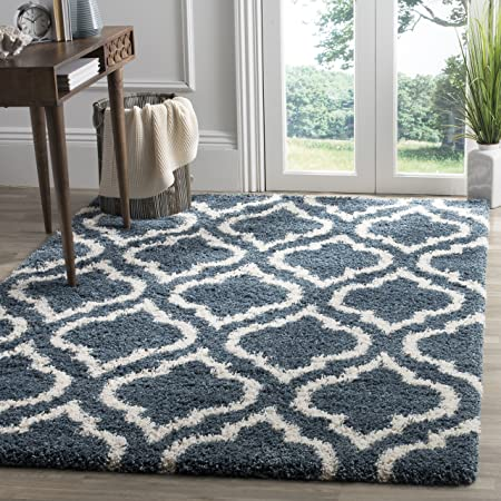 Safavieh Hudson Shag Collection Sgh280l Moroccan Ogee Trellis Non Shedding Living Room Bedroom Dining Room Entryway Plush 2 Inch Thick Area Rug 9 X 12 Slate Blue Ivory Furniture Decor